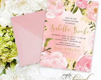 Peony Bridal Shower Invitation - Peony Flowers Blush Pink Custom Personalized PRINTABLE