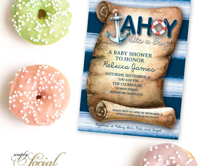 Ahoy It's a Boy Baby Shower Invitation Printable Nautical Anchor Watercolor Stripes Lifering