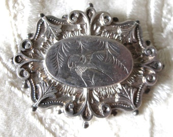 Victorian Aesthetic Period Sterling Silver Ornate Brooch with Etched Bird
