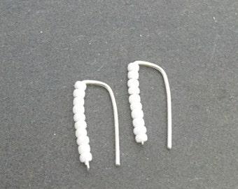 Sterling silver climber earrings with pearl beads Modern minimalist dainty jewelry; Ear Jackets; ear cuff; ear crawler