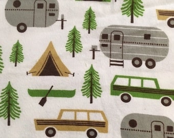Retro Campers - Flannel Fabric -  18 inches