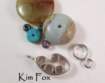 Medium Pod Design Clasp - slot clasp with loop in sterling silver designed by Kim Fox
