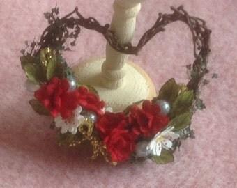 Pretty handmade dollhouse miniature Christmas wreath
