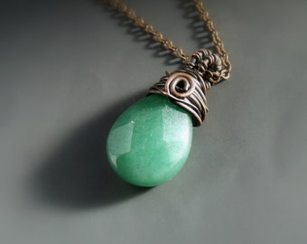 Green aventurine necklace, spiritual jewelry, healing stone copper pendant, rustic look jewelry