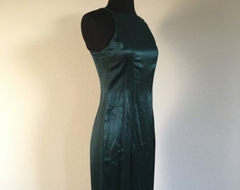 HALF OFF Vintage 1990s Emerald Green All That Jazz Formal Prom Dress Gown S (L)