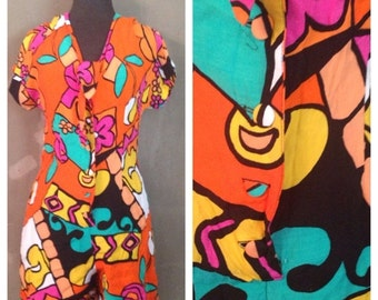40% OFF Vintage 1980s 1990s Abstract Picasso Shorts Romper M (D)