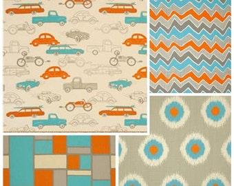 Orange and Aque Cars crib bumper, Chevron Crib Bumper, Retro Rides Crib Bedding, Bumperless Crib set, Orange Chevron, Aqua Chevron