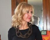 Felted Wool Link Necklace, Dark Brown