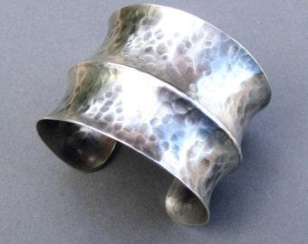 Hammered Sterling Silver Cuff Bracelet Wide Cuff Edgy Modern Jewelry Textured Distressed Metal Metalsmith Bracelet Handmade Jewelry