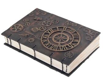 OOAK Steampunk Industrial Inspired Mixed Media Journal - Rustic Journal - Wedding Guestbook - Travel Journal - Artist Notebook -