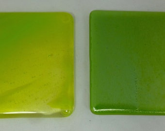 Fused Glass Coasters  in Iridescent and streaky spring green  - set of two MTO