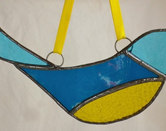 Stained Glass Bird in Blue and Yellow art glass light catcher