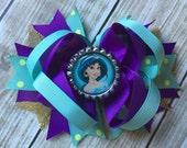 Princess Jasmine Hair bow, Princess Jasmine Bow, Princess Jasmine Birthday Bow, Princess Jasmine Aladdin Bow, Princess Jasmine Hair Clip