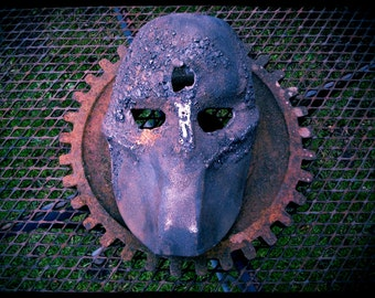 Cast Iron Steel Sculpture, Frankenstein Mask, Death Race, Battle Damaged