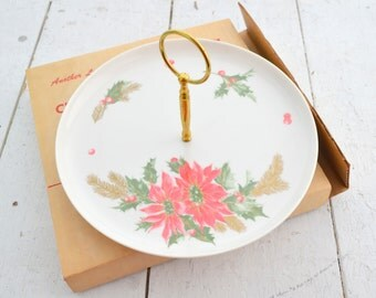 1960s NOS Poinsettia Tidbit Tray in Box