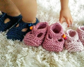 Knitted Baby Mary Jane T-strap Crib Shoe