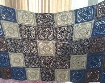 "sale,Crochet blanket 50""x83"", squares, cross"