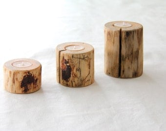 pine - 3 candle holders with beeswax candles