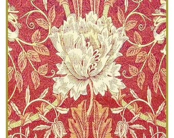 Summer SALE White Tulip in Redtones Counted Cross Stitch Chart -  William Morris design in the Arts and Crafts Style