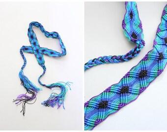 vintage woven rayon macrame belt - handmade 80s textile belt / Jewel Tones - 70s hippie / bohemian festival belt - boho belt