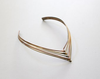 vintage 60s tri metal choker necklace - brass wave necklace / Mexico - modernist jewelry / 70s disco necklace - brass copper & silver