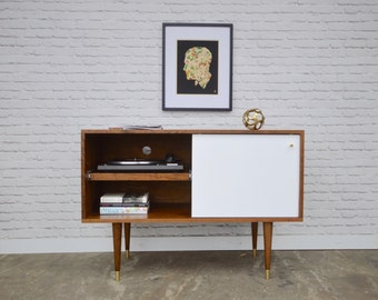 Whitewater Record Cabinet with Pull-out Shelf - Solid Cherry - Teak / White  Finish