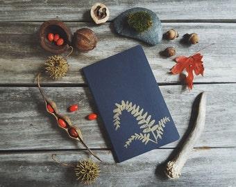 Golden Ebony Spleenwort Fern on Blue Notebook Moleskine Journal Hand Carved Linocut Botany Nature Christmas Gift Hostess Present Men Women