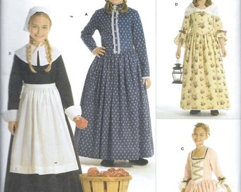 Simplicity 3725 Girls Pilgrim, Colonial, Puritan Costume Patterns Size 3, 4, 5, 6