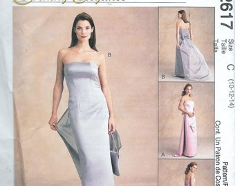 McCall's 2617 Evening Elegance Strapless Gown Dress Sewing Pattern Size 10, 12, 14 UNCUT Prom Wedding