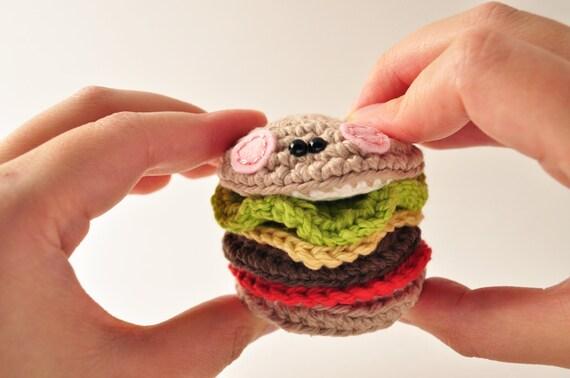 Crochet Hamburger Pattern Amigurumi Pattern by ThePudgyRabbit