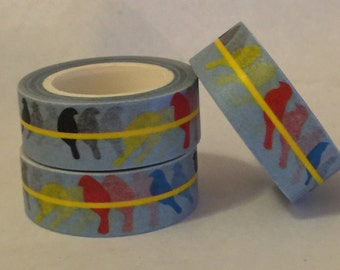 Washi Tape, Birds on a Wire , 15mm x 10m washi/scrap booking/Planner tape/washi paper tape