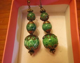 Gorgeous: Genuine Vintage Green JADE, Dappled PEKING Glass, Brass FILIGREE Long, Dangle/Drop Pierced Mid Century Earrings