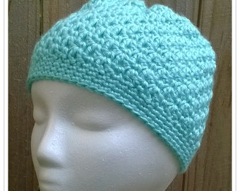 Puffy Aqua Blossom-Stitch Beanie Hat