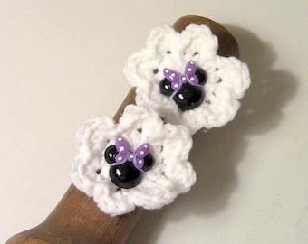 Ponytail Holders, Hair ties, Hair Accessories, Crocheted Flower Ponytail Holders