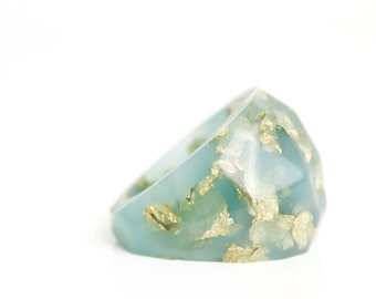 gift for her deep seafoam size 7 soft faceted eco resin ring with suspended gold leaf
