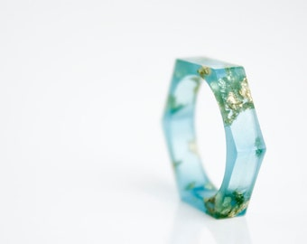 gift for her, vivid blue hex gold flake ring, size 6 hex eco resin ring