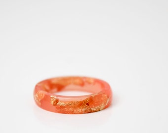 size 6 | thin smooth stacking eco resin ring | sunset resin with gold metallic flakes