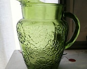 Vintage Pitcher Green Foral