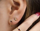Tiny Purple Garnet Hug Hoops, Sterling Silver & Gold Plated, Gemstone Hug Earrings, Open Hoops, Minimalist Jewelry, Hand Made, Gift, EA030