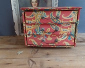 vintage French fabric covered box sewing box with drawers