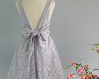 Gray dress gray bridesmaid dresses gray party dress gray prom dress gray lace dress gray cocktail dress gray backless dress lace dresses