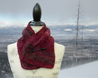 Beautiful Hand Knit Neckwarmer Scarf for Women - Marble Berries