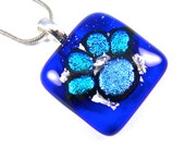 """Dichroic Cremation Jewelry - Dog Paw Cobalt Blue Sapphire Turquoise Fused Glass Pendant - Custom Made - 1"""" / 25mm Pet Dogs Memorial Stone"""