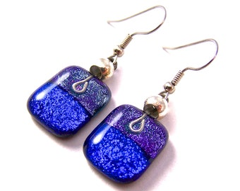 Dichroic Dangle Earrings - Blue Sapphire Purple Violet Dichro Layered Fused Glass - Beaded - Surgical Steel French Wire or Clip On - 3/4""