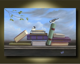 Birds and Books with Sky..Book Lovers #2 by Kimberly Fox...FINE ART PRINT on Canvas or Paper..surrealism...kids room...nursery art...library