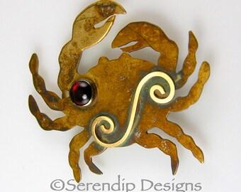 Patina Silver Crab Brooch with Garnet Patina Sterling Silver and 14 karat Goldfill Spiral, Crab Pin