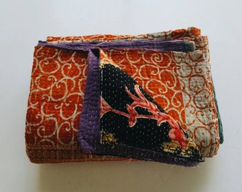 Vintage Kantha Quilt - Orange and Purple Bohemian Bedding Home Decor - Fall Home Decor