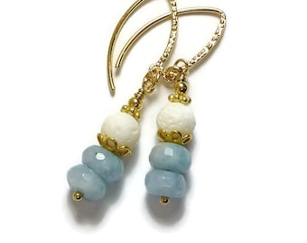 Aquamarine & White Coral Earrings, Gold Filled, Beachy Earrings, Blue Stone, Summer Jewelry,  Birthstone Jewelry