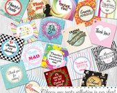 "15 Party Favor Tags, 2""x2"" Professionally Printed & Shipped by Cutie Putti Paperie"