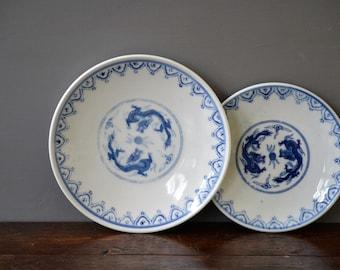 Pier 1 Imports Blue Dragon Salad & Side Plate / Vintage Dinner Serving Dessert Asian Oriental